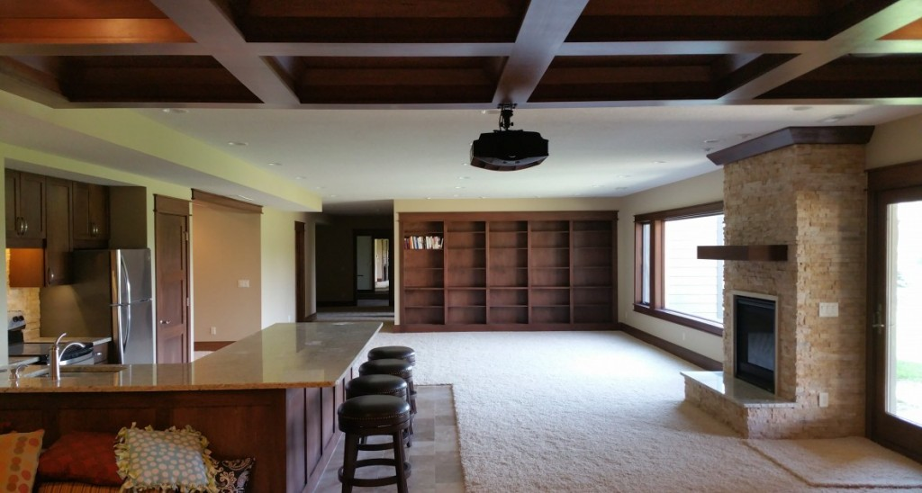 premier construction, des moines construction services, custom basement, finished basement, basement theater, home theater