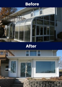 Premier Construction Des Moines Sunroom Before and After